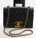 Vintage Chanel 9inch Black Quilted Leather Shoulder Flap Bag Large CC Logo