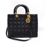 Christian Dior Lady Dior 12.5 inch Black Quilted Cannage Leather Large Bag + Strap