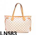 Louis Vuitton Neverfull PM White Damier Azur Canvas Tote Bag