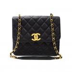 Chanel Black Quilted Caviar Leather Shoulder Flap Bag Large CC Logo