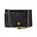 """Vintage Chanel 12"""" Black Quilted Leather Medium Shoulder Bag"""