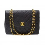 Vintage Chanel 10inch Tall Classic Flap Black Quilted Leather Shoulder Bag