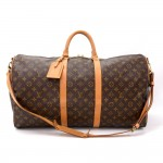 Vintage Louis Vuitton Keepall 55 Bandouliere Monogram Canvas Duffel Travel Bag + Strap