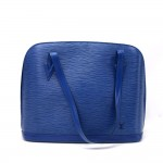 Vintage Louis Vuitton Lussac Blue Epi Leather Large Shoulder Bag