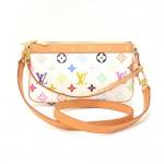 Louis Vuitton Pochette Accessories White Multicolor Canvas Hand Bag + Strap