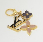 Louis Vuitton Fleur de Monogram Black x Gold Tone Key Chain / Bag Charm