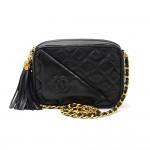 """Vintage Chanel 7"""" Black Quilted Leather Tassel Shoulder Pochette Bag"""