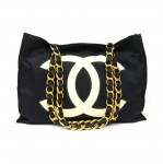 Chanel Jumbo XL Black Nylon Shoulder Shopping Tote Bag
