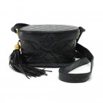 Chanel Black Quilted Leather Vanity Cosmetic Shoulder Bag with Fringe