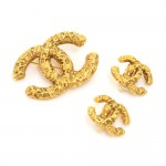 Vintage Chanel Gold Tone Brooch And Matching Earrings Set