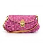 Louis Vuitton Mini Pleaty Fuchsia Monogram Denim Shoulder Hand Bag