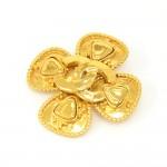 Vintage Chanel Gold-Tone Clover Motif Large Brooch