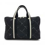 Chanel Travel Line Black x White Nylon Waterproof Laptop Bag