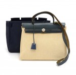 Hermes Herbag PM 2 in 1 Canvas Blue Leather Shoulder Bag