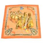 Hermes Attelage en Arbalète Orange Silk Scarf 90