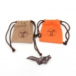 Hermes Orange & Beige Dust bag for Small items Set of 2 + Ribbon