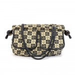 Chanel Beige & Black Canvas Camellia Check Pattern Shoulder Bag