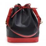 Vintage Louis Vuitton Noe Large Red Black Vio Epi Leather Shoulder Bag