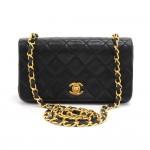 Vintage Chanel Black Quilted Leather Shoulder Flap Mini Bag Ex