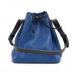 Vintage Louis Vuitton Petit Noe Vio Blue x Black Epi Leather Shoulder Bag