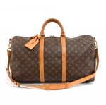 Vintage Louis Vuitton Keepall 50 Bandouliere Monogram Canvas Duffel Travel Bag + Strap