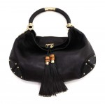 Gucci Babouska Indy Black Leather Bamboo Tassel Large  Hobo Bag