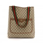 Vintage Gucci Accessory Collection Brown GG Supreme Monogram Coated Canvas Shopping Tote Bag