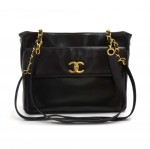 Vintage Chanel Black Lambskin Leather Front Pocket Twist Lock Shoulder Bag