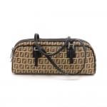 Fendi Beige Zucca Monogram Nylon and Brown Leather Bauletto Mini Boston Bag