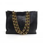 Vintage Chanel Jumbo XL Black Leather Shoulder Shopping Tote Bag