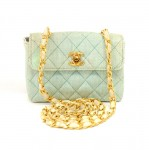 Chanel Light Blue Straw Mini Flap Quilted Shoulder Bag