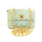 Chanel Light Blue Straw Mini Flap Quilted Shoulder Bag