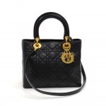 Christian Dior Lady Dior Medium Black Quilted Cannage Leather Hand Bag + Strap