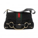 Gucci Black GG Monogram Canvas Horsebit Chain Green & Red Web Shoulder Bag-Limited Ed