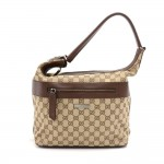 Gucci GG Beige Monogram Canvas & Brown Leather  Front Zipper Pocket Shoulder Bag