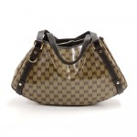 Gucci Beige GG Monogram Crystal Coated Canvas & Brown Leather Shoulder Bag