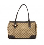 Gucci Princy Line Beige GG Canvas & Brown Leather Ribbon Tote Bag