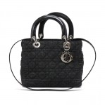 Christian Dior Lady Dior Medium Black Quilted Cannage Denim Handbag + Strap