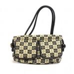 Chanel Beige & Black Canvas Camellia Check Pattern Shoulder Bag