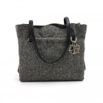 Vintage Christian Dior Gray Wool x Black Leather x Lace  Purse Shoulder Bag
