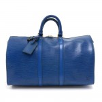 Vintage Louis Vuitton Keepall 45 Blue Epi Leather Duffle Travel Bag