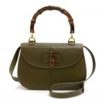 Gucci Bamboo Top Handle Olive Green Pebbled Leather 2 Way Bag