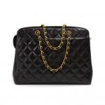 Vintage Chanel Black Quilted Lambskin Leather Handbag