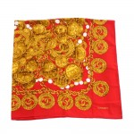 Chanel Red Medallion Chain & Beads Silk Scarf
