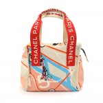 Chanel Paris Map Sequin Eiffel Tower Printed Canvas x White Leather  Tote Bag-Rare
