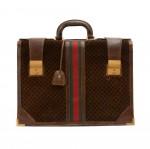 Vintage Gucci Dark Brown Suede & Leather GG Logo Briefcase