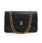 "Vintage Chanel 2.55 11"" Double Flap Black Quilted Leather Paris Limited Shoulder Bag"
