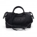 Balenciaga Black Nylon & Leather Classic Motorcycle City Shoulder Bag -FW 2014 Collection