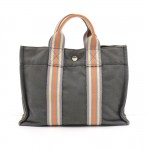Hermes Sac Fourre-Tout Gray Cotton Canvas Orange Striped Web Tote Bag