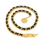 Vintage Chanel Gold-Tone Chain x Leather CC Logo Medallion Waist Belt